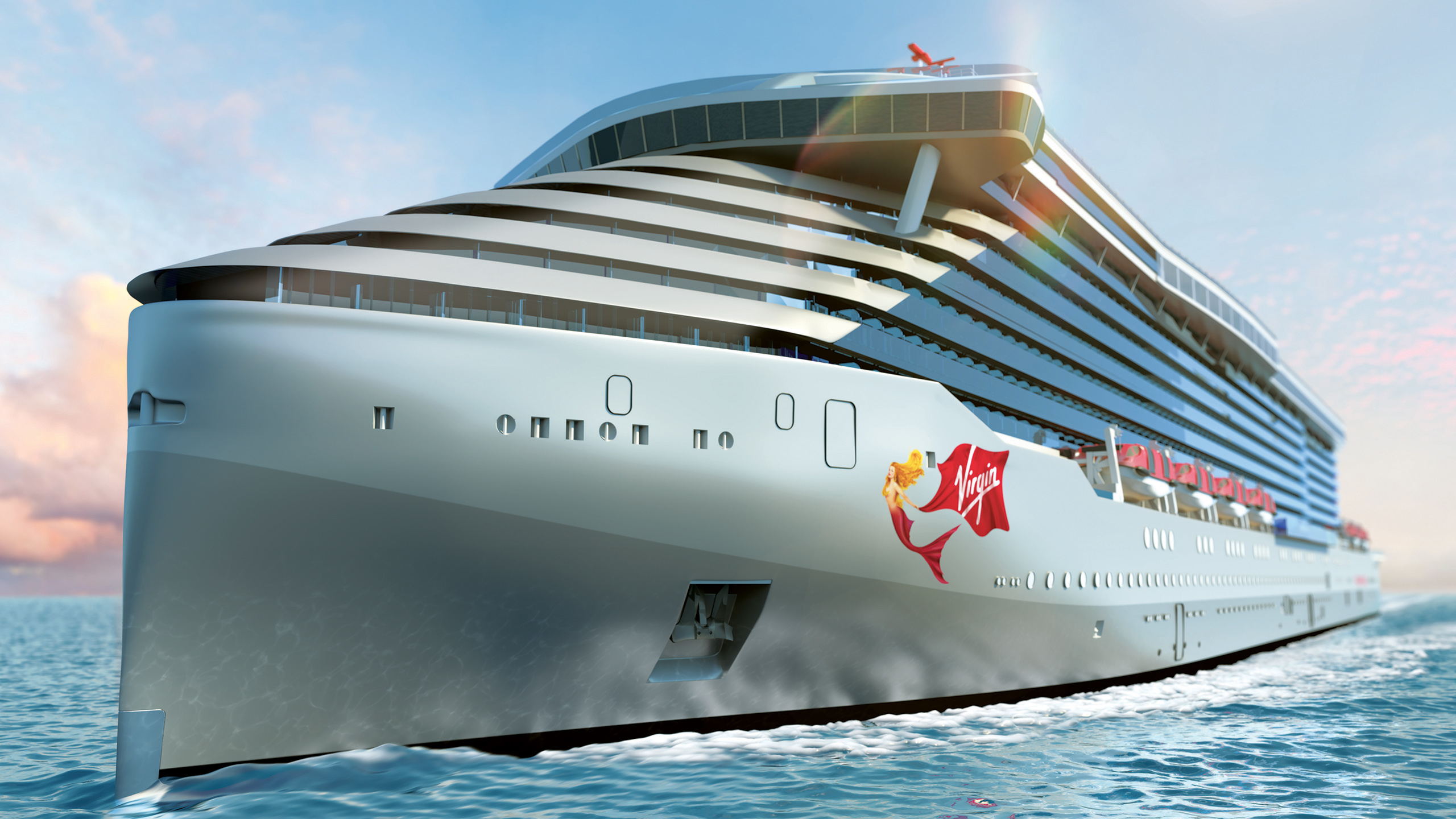 Virgin Voyages begynder at sejle i 2020 – året efter og i 2022 kommer der endnu to skibe til flåden. PR-illustration: Virgin Voyages.