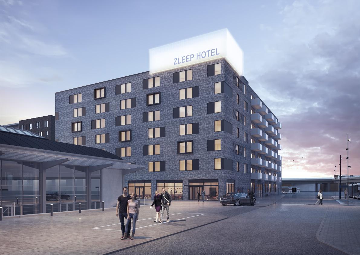 Zleep Hotels 10. danske hotel åbner denne måned, denne gang i Aalborg. Illustration: Zleep Hotels.