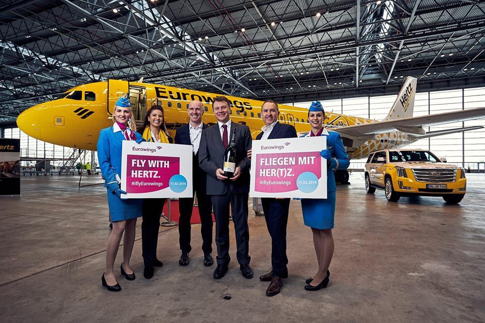 Eurowings særmalede Hertz-fly (Foto fra Eurowings-Facebookside)
