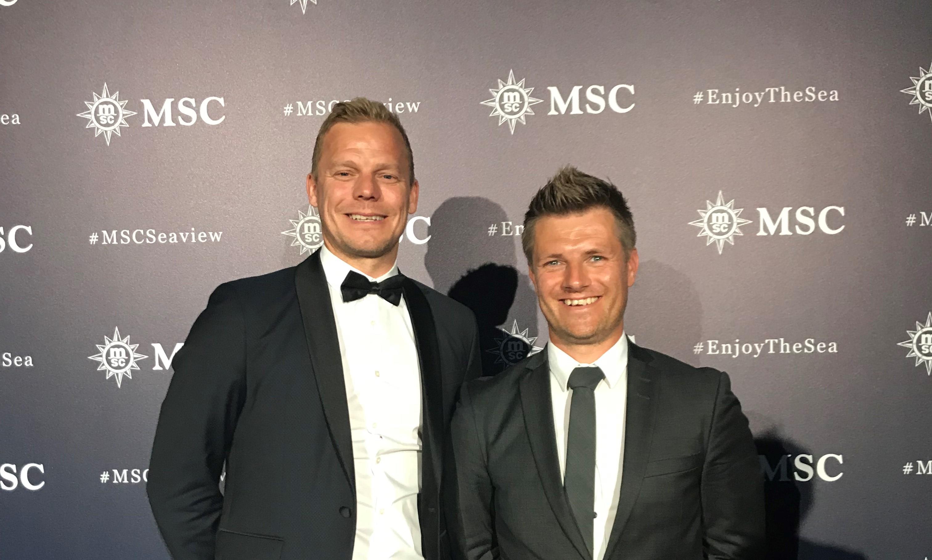 Ejerne af MyCruise er i dag salgsdirektør Nicki Olsen, til venstre, og administrerende direktør, Claus Jensen. Foto: MSC Cruises.
