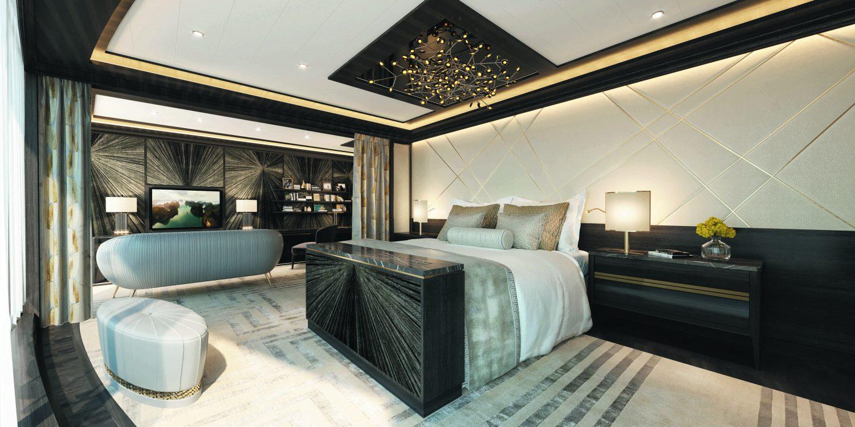 Hovedsoveværelset på Splendor Regent Suite, det såkaldte master bedroom – alene sengen koster 1,5 millioner kroner. Illustration: Regent Seven Seas.