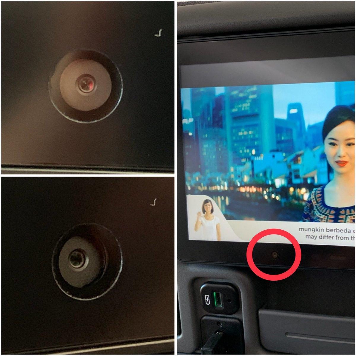 Twitterfotoet fra en passager der efter flyvning med Singapore Airlines undrede sig over, om der var et kamera indbygget i underholdningssystemet. Foto via Twitter: Vitaly Kamluk.