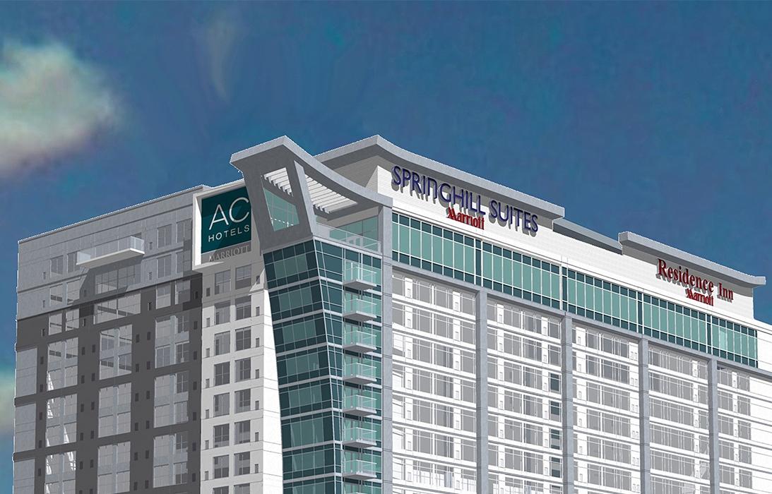I Nashville, Tennessees hovedstad, har Marriott netop fået hotel med tre af sine 30 varemærker. Illustration fra Marriott.
