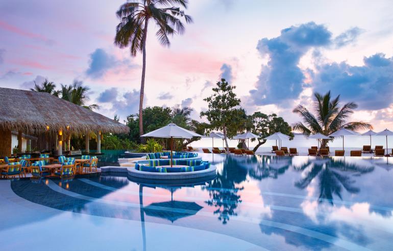 Six Senses består foreløbig af 16 hoteller og resorts, her er det Maldiverne. Ambitionen er omkring 60 hoteller verden over. Foto: InterContinental Hotels Group.