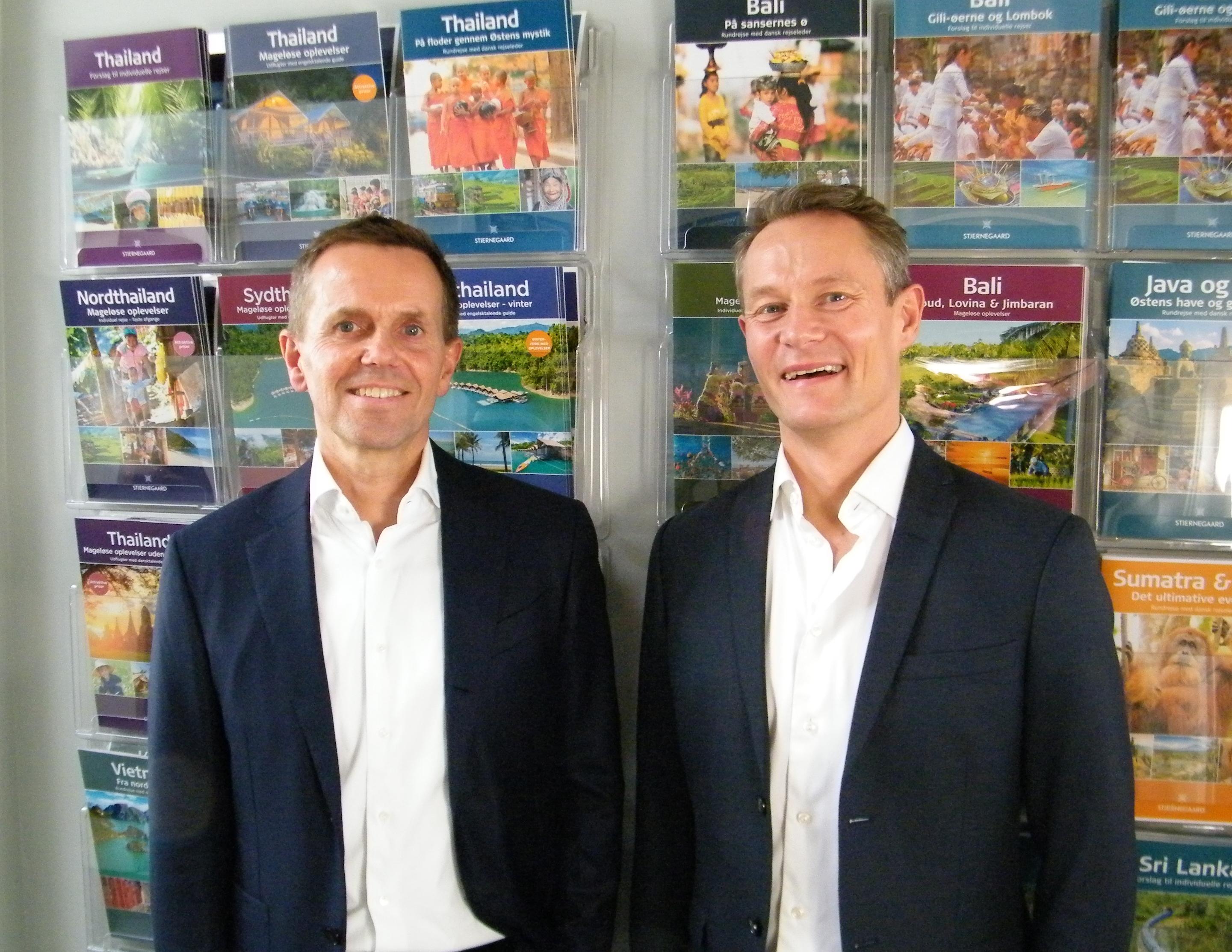 Asger Domino, til venstre, og Peter Nielsen solgte i december sidste år officielt Stjernegaard Rejser til Aller Leisure for muligvis 175-180 millioner kroner. Foto: Henrik Baumgarten.