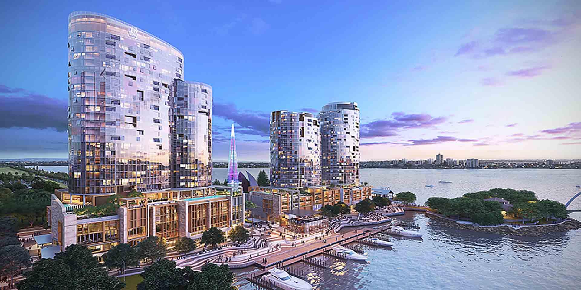 Marriott-koncernen åbner i år 30 nye hoteller indenfor sine øverste varemærker, her det kommende Ritz Carlton i australske Perth, hovedstad i delstaten Western Australia. Illustration: Marriott.