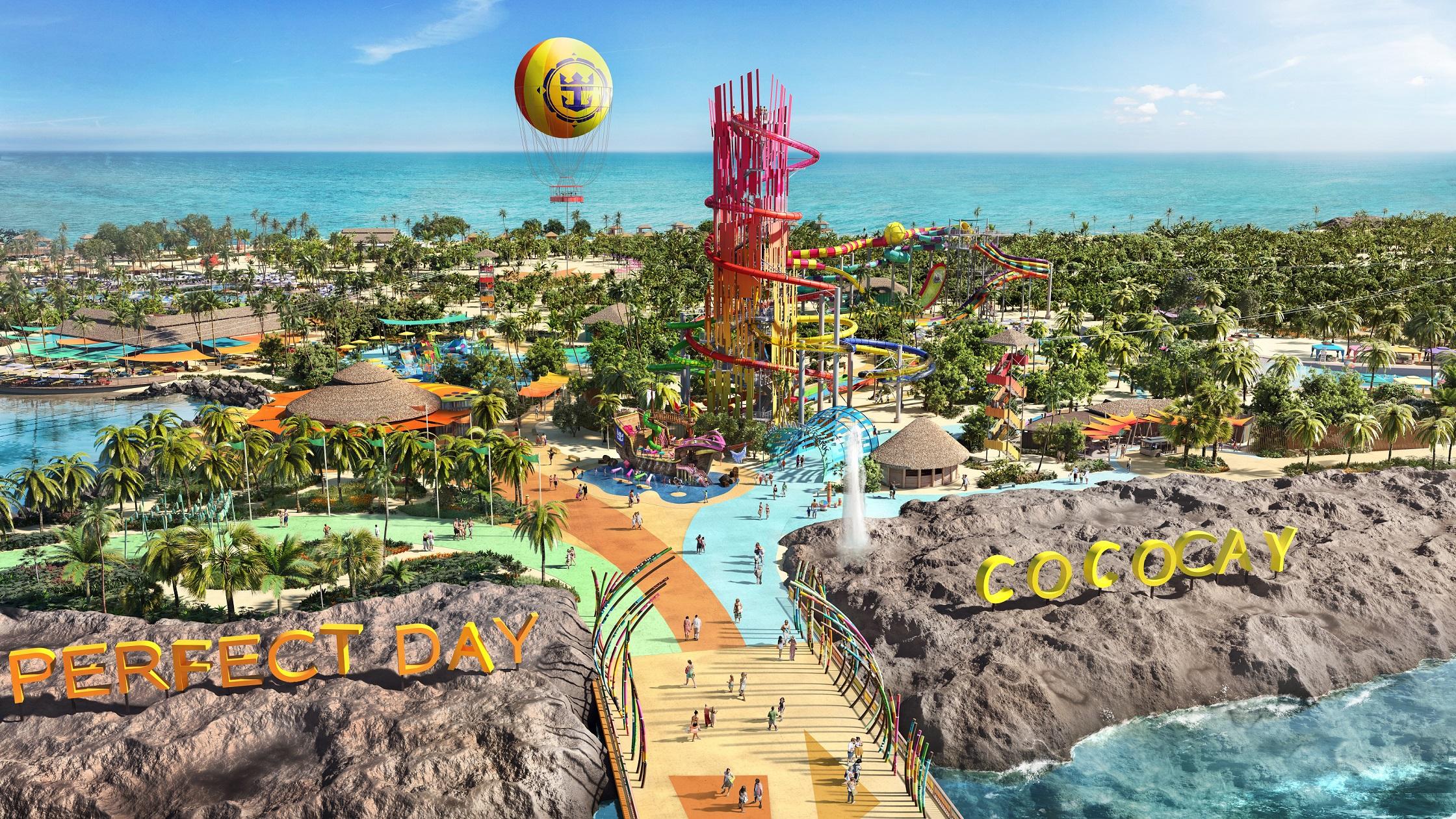 CocoCay er et nyt underholdningstilbud som nu åbner for Royal Caribbeans krydstogtsgæster ved Bahamas. Illustration: Royal Caribbean Cruise Line.