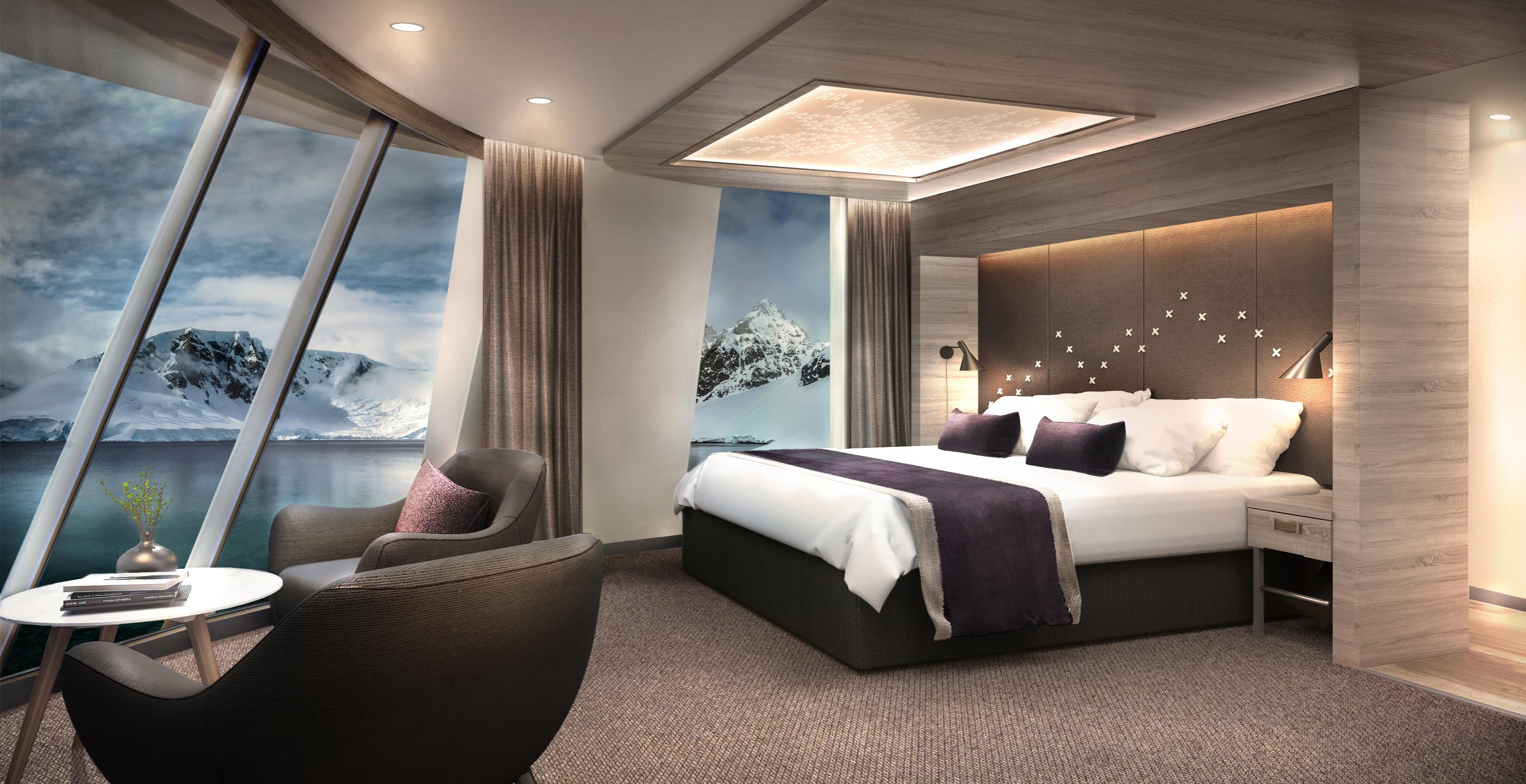 Hurtigruten vil ombygge MS Finnmarken, der blandt andet får fem nye store suiter. Foto: Hurtigruten.
