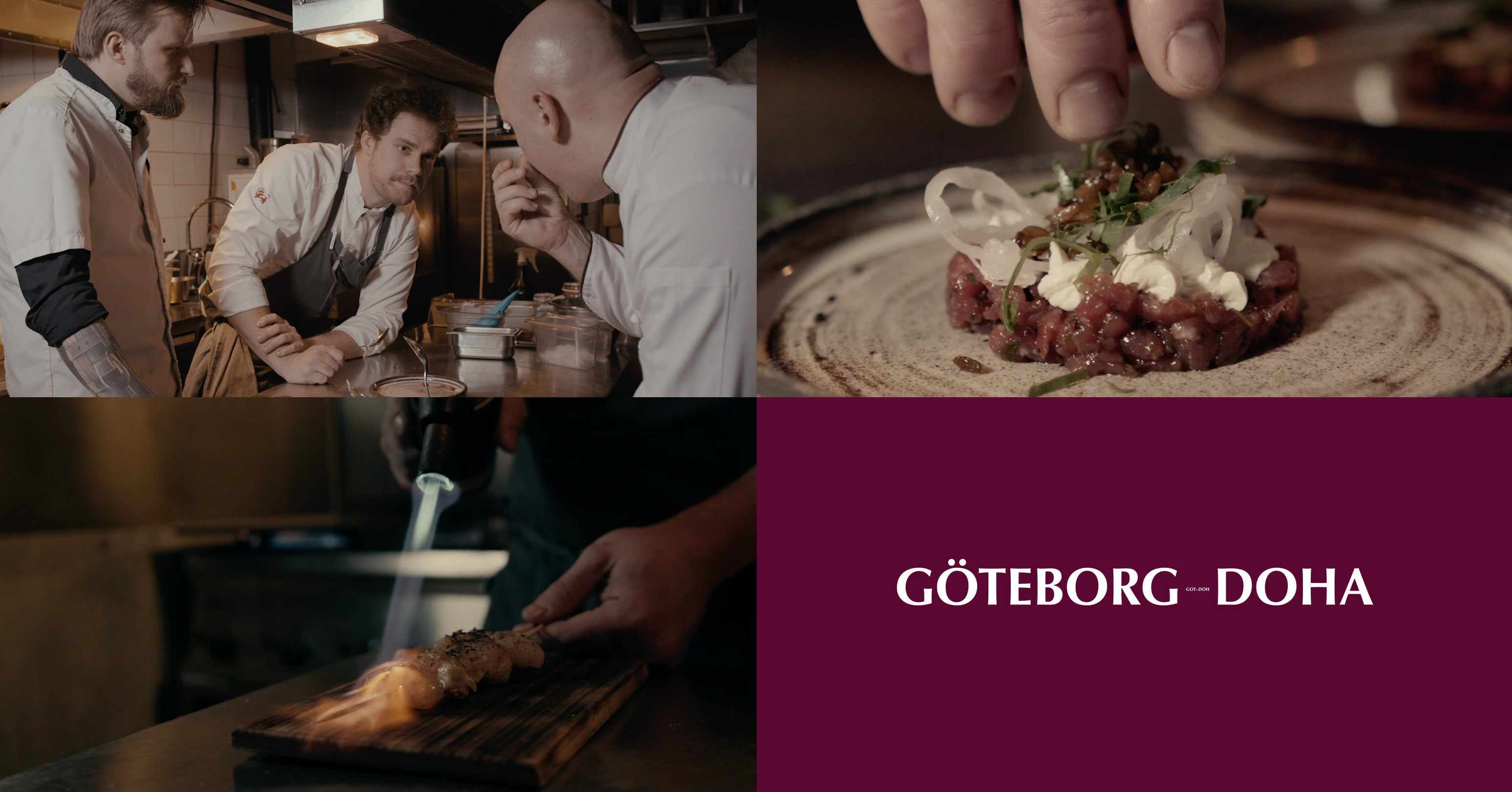 Qatar Airways får to dage i denne måned en slags pop up-restaurant i Gøteborg. Her kollage fra Somm Restaurant & Winebar i Gøteborg og Qatar Airways.