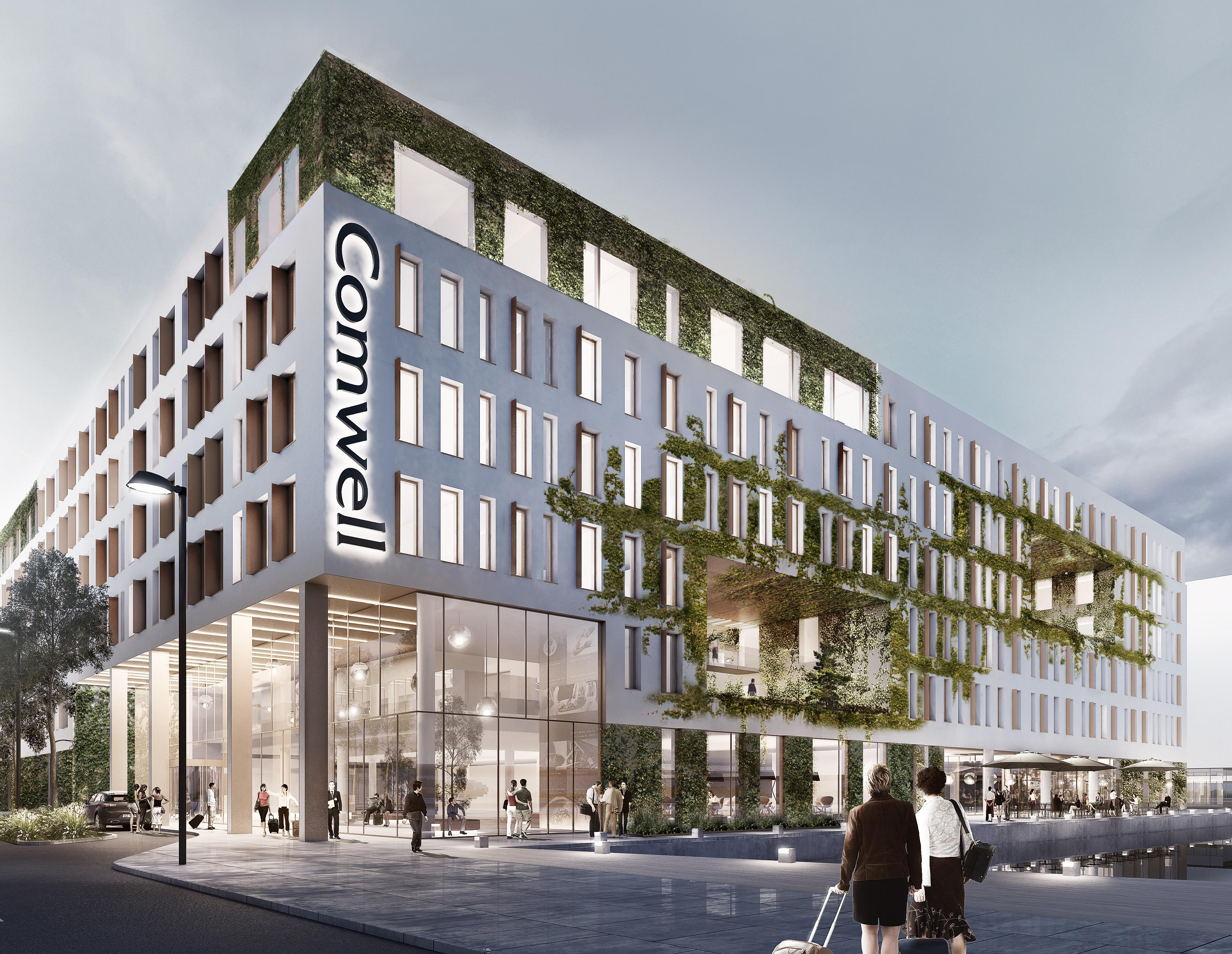 Tegning af det kommende Comwell Copenhagen Portside, der åbner næste år i Københavns Nordhavn med 484 værelser og suiter – og måske i samarbejde med en stor international hotelkæde. Illustration: Comwel.