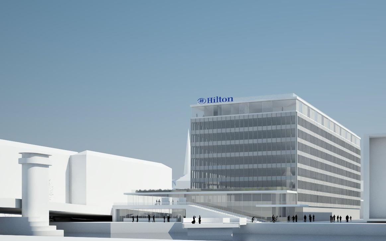Hilton fejrer i år 100 års jubilæum – verdens næststørste hotelkæde har foreløbig 5.600 hoteller; i sommeren 2021 vender Hilton tilbage til København med dette 5-stjernede hotel ved Knippelsbro. PR-illustration.