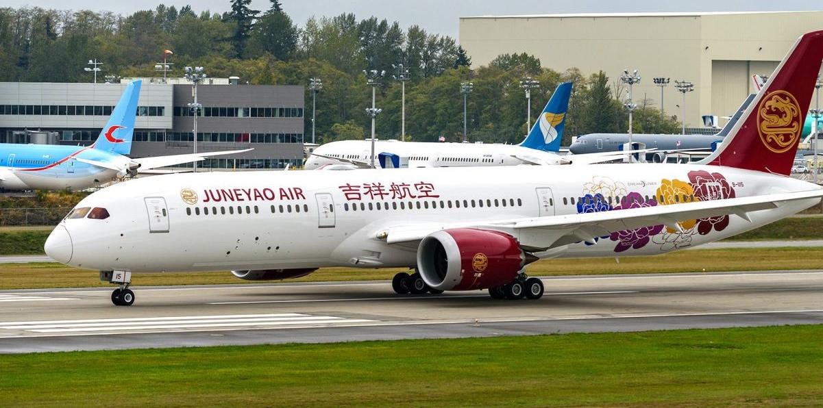 Kinesiske Juneyao Air begynder sidst i juni at flyve dagligt fra Shanghai til Helsinki med en Boeing B787-900 – pressefoto Finavia.