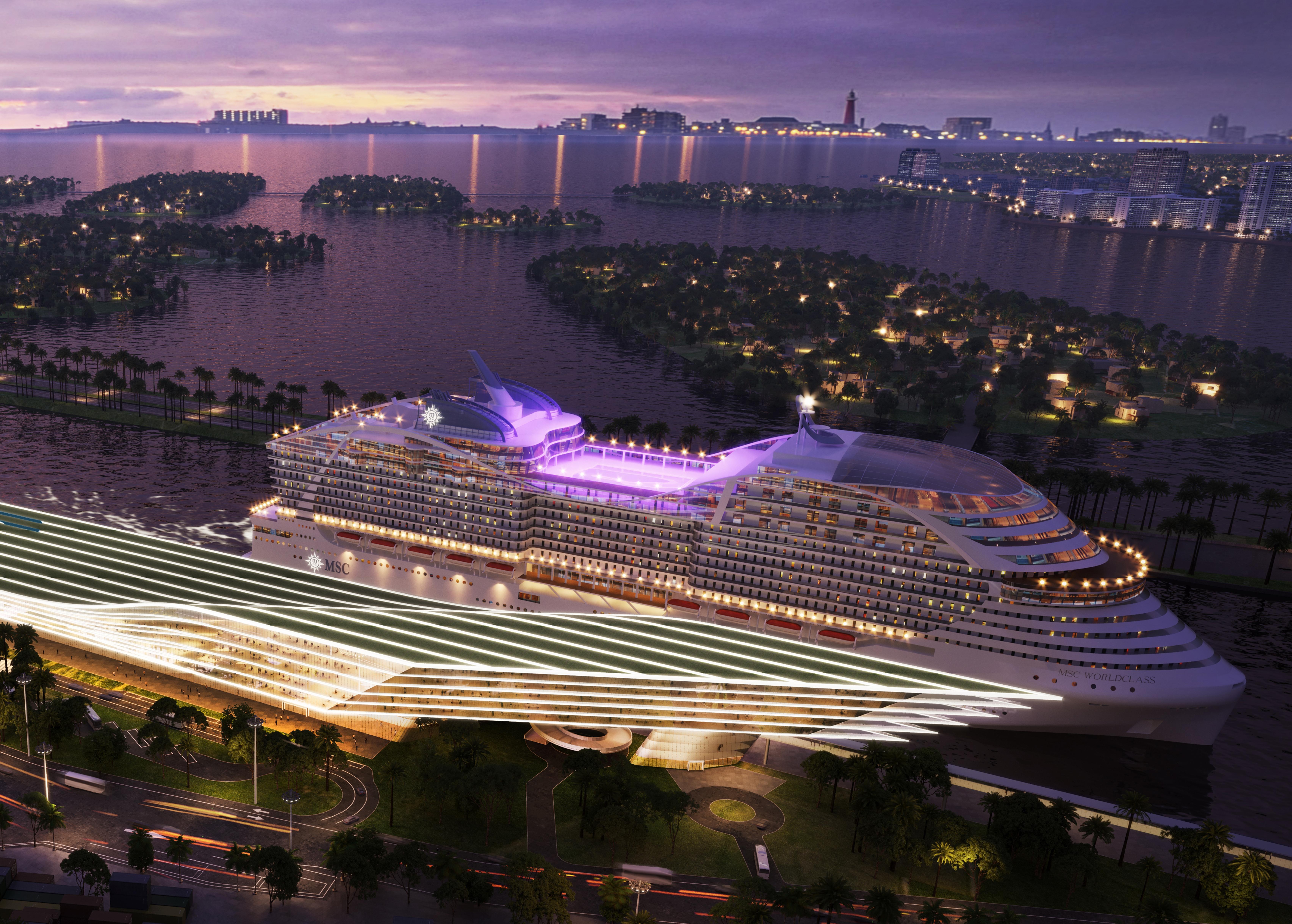 Arkitekttegning af MSC Cruises kommende terminal i Port Miami, hvor rederiet forventer at have op til en million passagerer om året. Illustration: MSC Cruises.