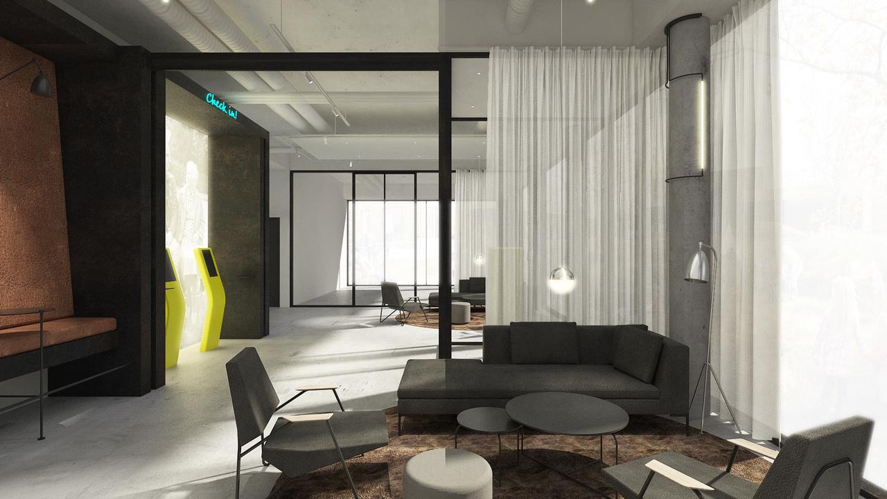 Arkitekttegning af del af Zleep Hotel Aarhus Nord, der åbner sine 100 værelser i Skejby nord for Aarhus i henholdsvis juni og juli. Illustration: Zleeps Hotels.