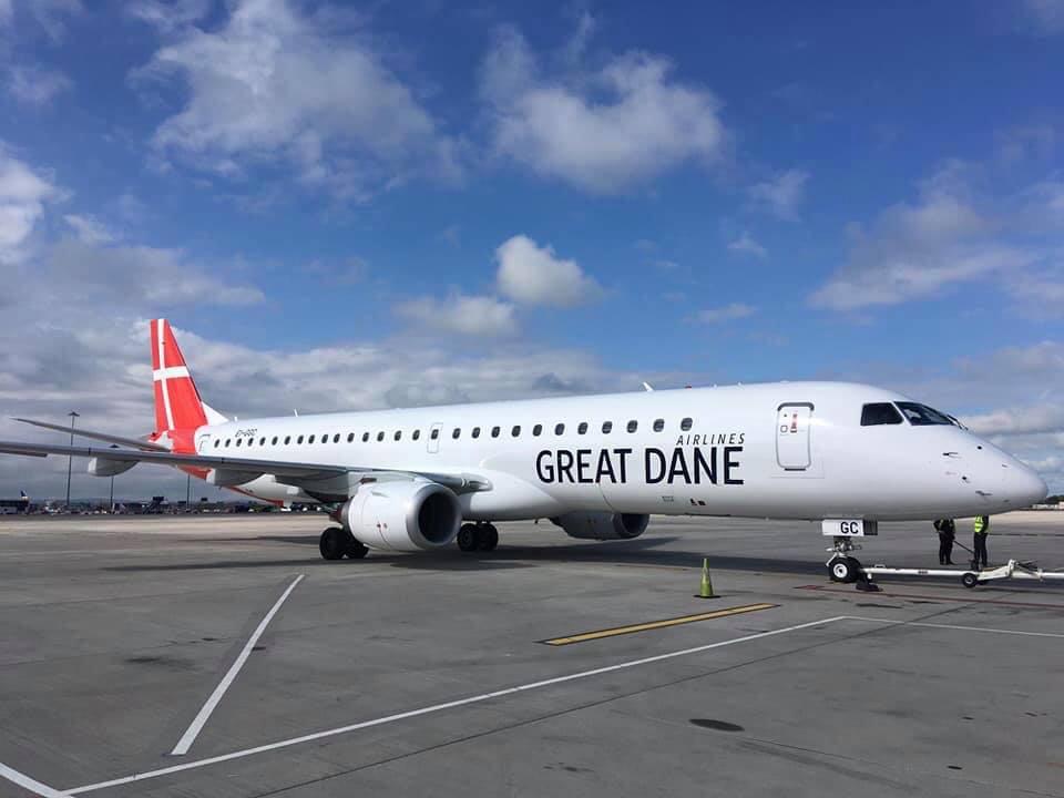 Første Embraer ERJ-195LR til Great Dane Airlines (Foto: Great Dane Airlines/Facebook)