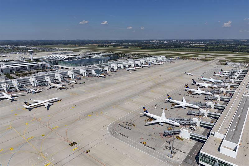 Lufthansa er klart største kunde i lufthavnen i München, i denne sommersæson har Lufthansa ruter til 140 lufthavne i 46 lande fra München. Pressefoto fra lufthavnen.