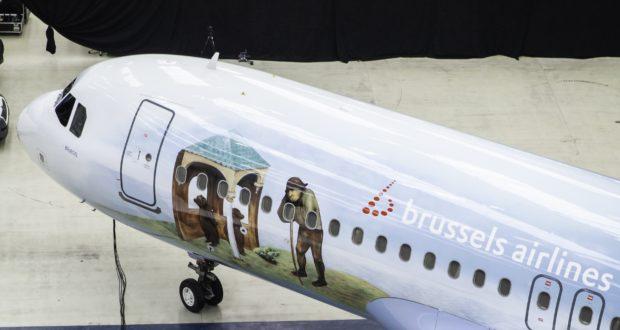 Forreste del af det nymalede Airbus A320-fly fra Brussels Airlines, der de næste fem år flyver som en hyldest til renæssancemaleren Bruegel den Ældre, der i år døde for 450 år siden. Foto: Brussels Airlines.