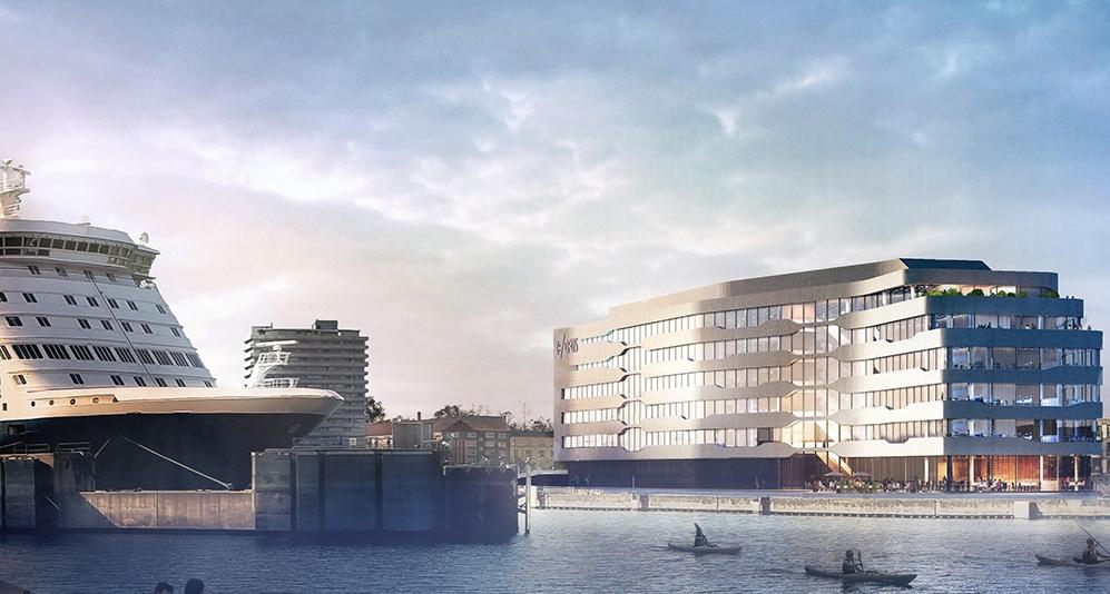 Som nærmest nabo til DFDS' færgeterminal i København får rederiet i 2021 sit nye hovedkvarter med plads til 700 medarbejdere. Visualisering: PLH Arkitekter.
