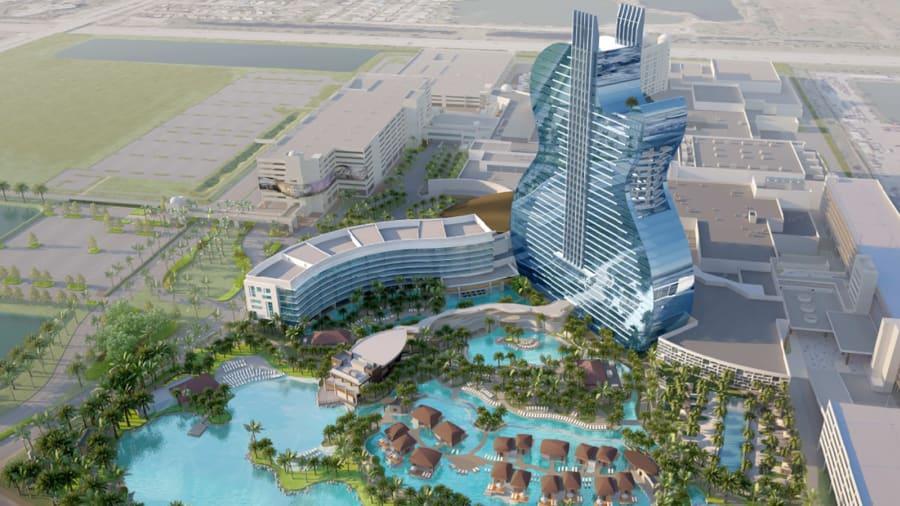 Den næsten 150 meter høje guitarbygning i det sydlige Florida er klar til at modtage hotelgæster fra oktober. Illustration via Seminole Hard Rock Hotel & Casino Hollywood.