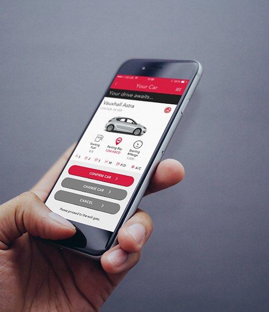Den nye App fra Avis Biludlejning kan gøre livet nemmere for selskabets kunder. Illustration: Avis Biludlejning.