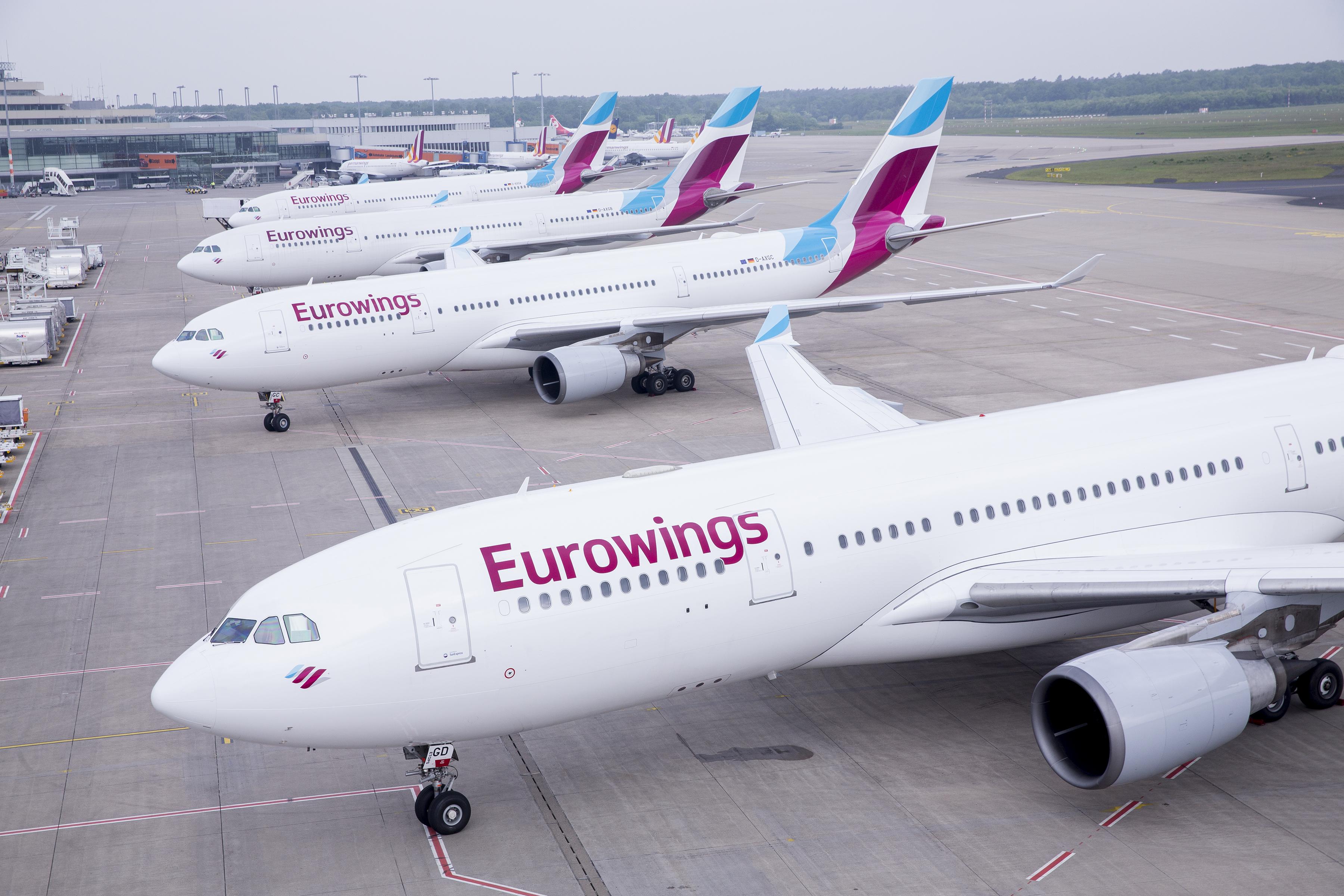 En Airbus A330 fra Brussels Airlines, men i tyske Eurowings-farver, måtte forleden flyve ni timer fra Bruxelles – og tilbage til Bruxelles; målet var ellers Washington DC. Pressefoto: Eurowings.