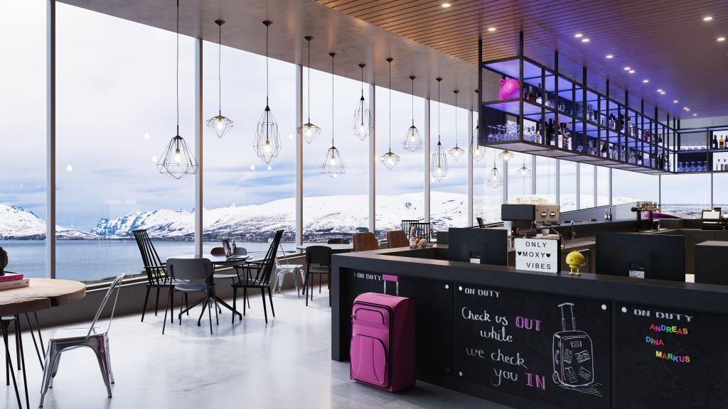 Interirør i i det kommende Moxy Hotel i Tromsø. (Foto: Moxy/PR)