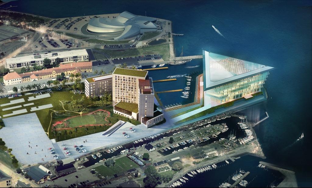 Området ved Kastrup Havn, tæt på Københavns Lufthavn – i midten det kommende nye Scandic Hotel, bagved ligger blandt andet akvariet Blue Planet. Illustration: Scandic Hotels.