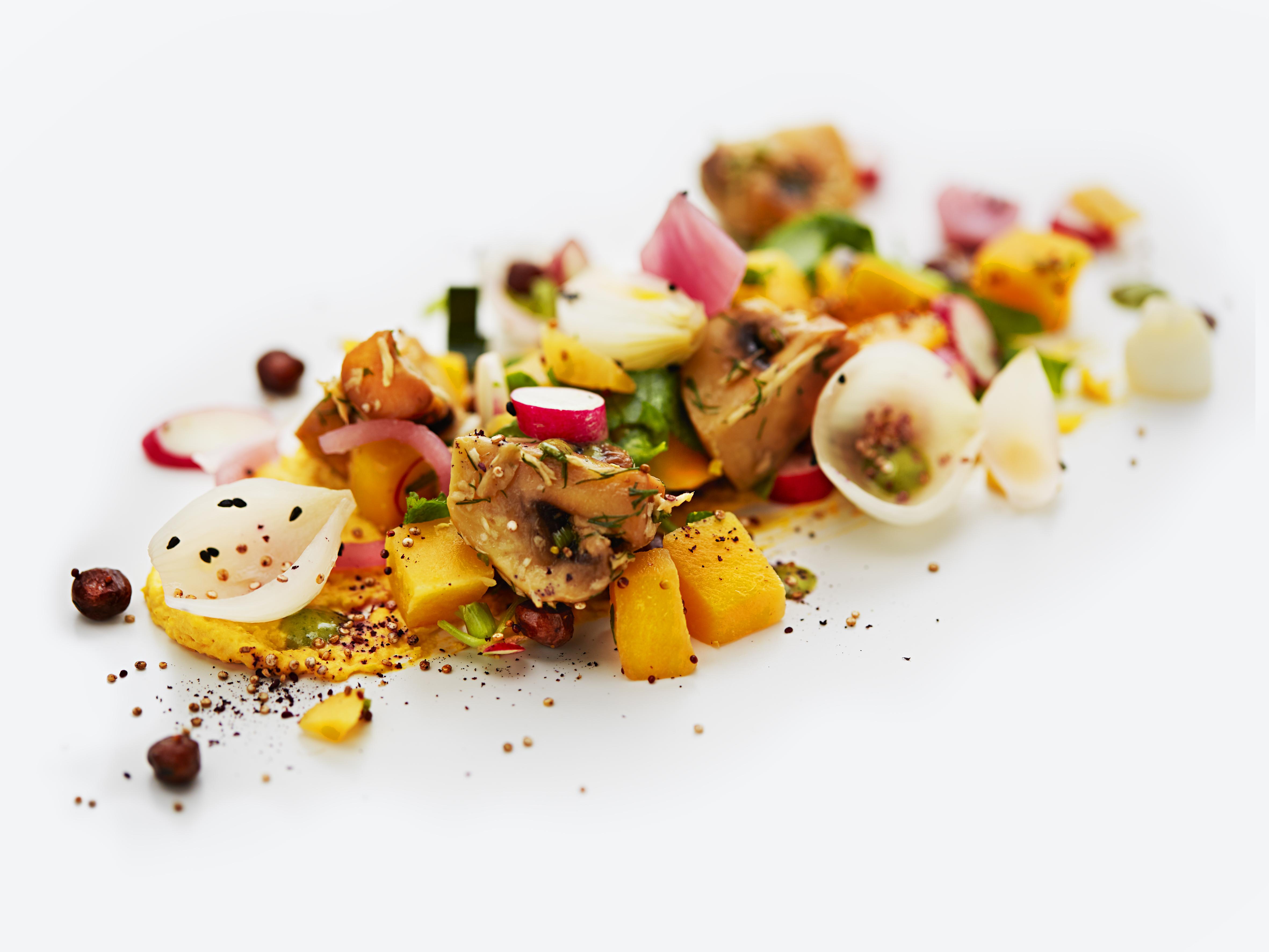 SAS introducerer to nye vegetarmenuer. Den ene er svampe i dild- og peberrodslage sammen med en kålrabisalat. Foto: SAS / Andy Prhat