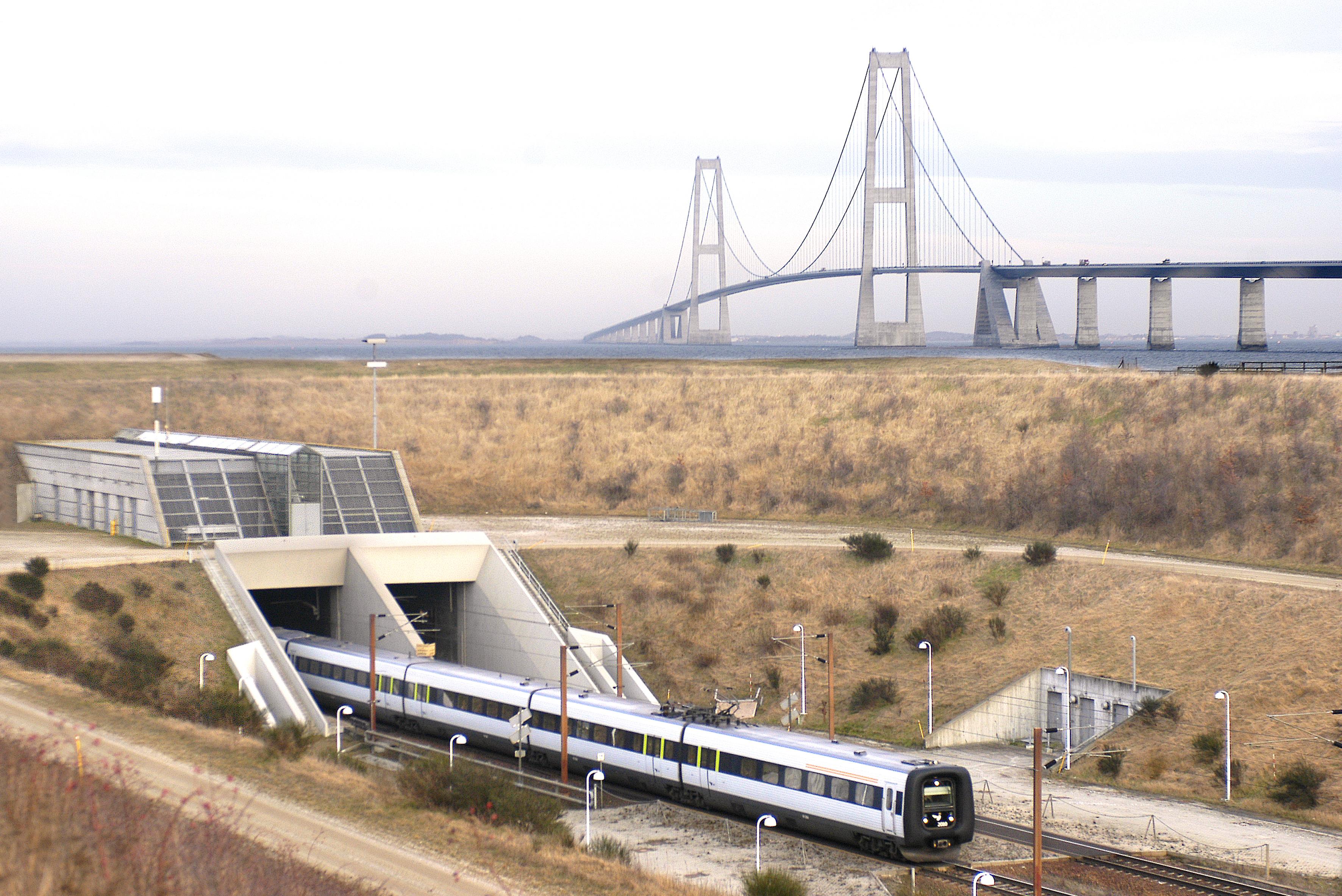 DSB og chefen for det tyske turistråd i Danmark har ikke samme opfattelse af, hvor godt DSB klarer at få transporteret passagerer mellem Danmark og Tyskland. Her er et DSB-tog ved Storebæltsforbindelsen. Foto for DSB, René Strandbygaard.
