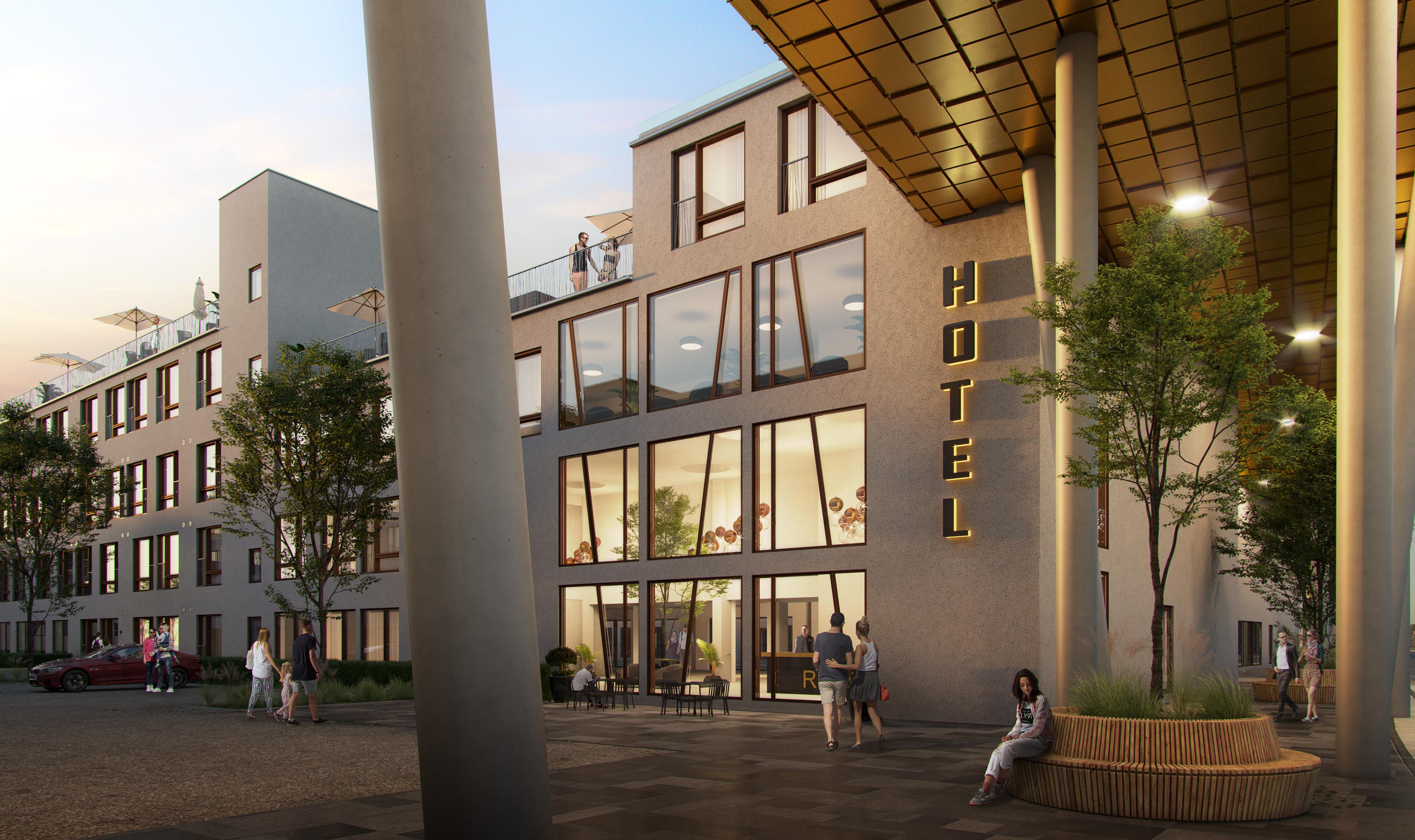 """Indgangen til det kommende """"5-øren Guldsmeden Hotel"""" ved Københavns Lufthavn. Bygherren er Gefion Group, mens Guldsmeden Hotels bliver operatør af hotellet. Illustration for Gefion Group: AI Arkitekter & Ingeniører."""