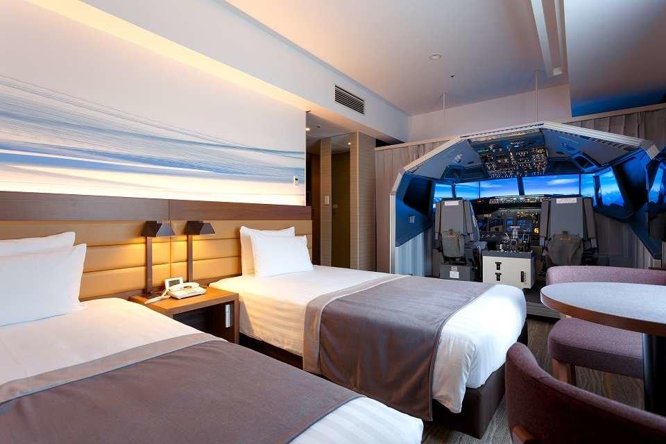 Superior Cockpit Room er navnet på en netop ibrugtagen suite på lufthavnshotellet Haneda Excel Hotel ved Tokyos største lufthavn, Haneda. Foto: Haneda Excel Hotel Tokyu.