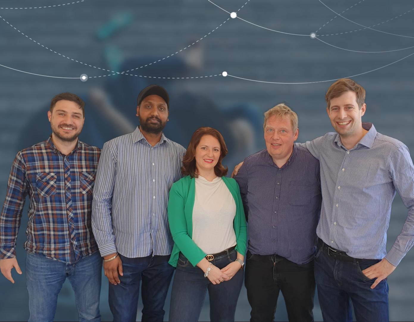 Teamet bag danske Nitro Travel Solutions tæller blandt andet fra venstre Alexandros Mattheos, Narinder Singh, Consuelo Savarese, Niels Elgaard Larsen og ejeren, Pascal d'Hermilly. Foto: Nitro Travel Solutions.