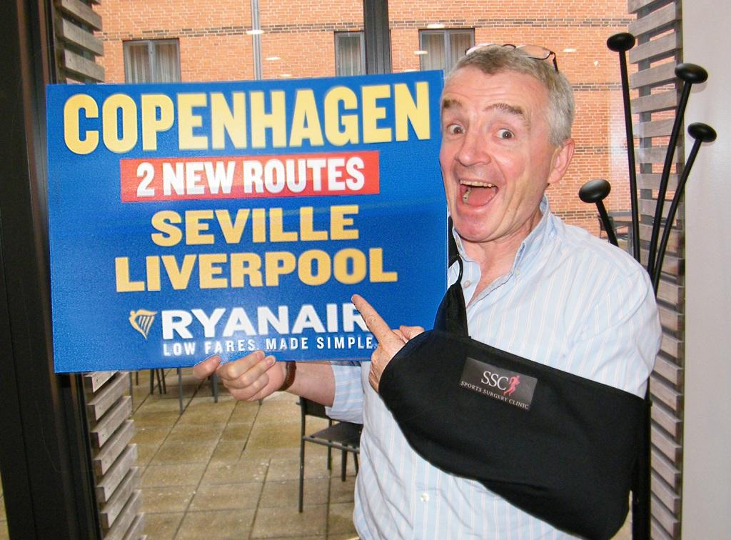 Ryanairs koncernchef, Michael O'Leary, på pressemøde i København i 2017; foto: Henrik Baumgarten.
