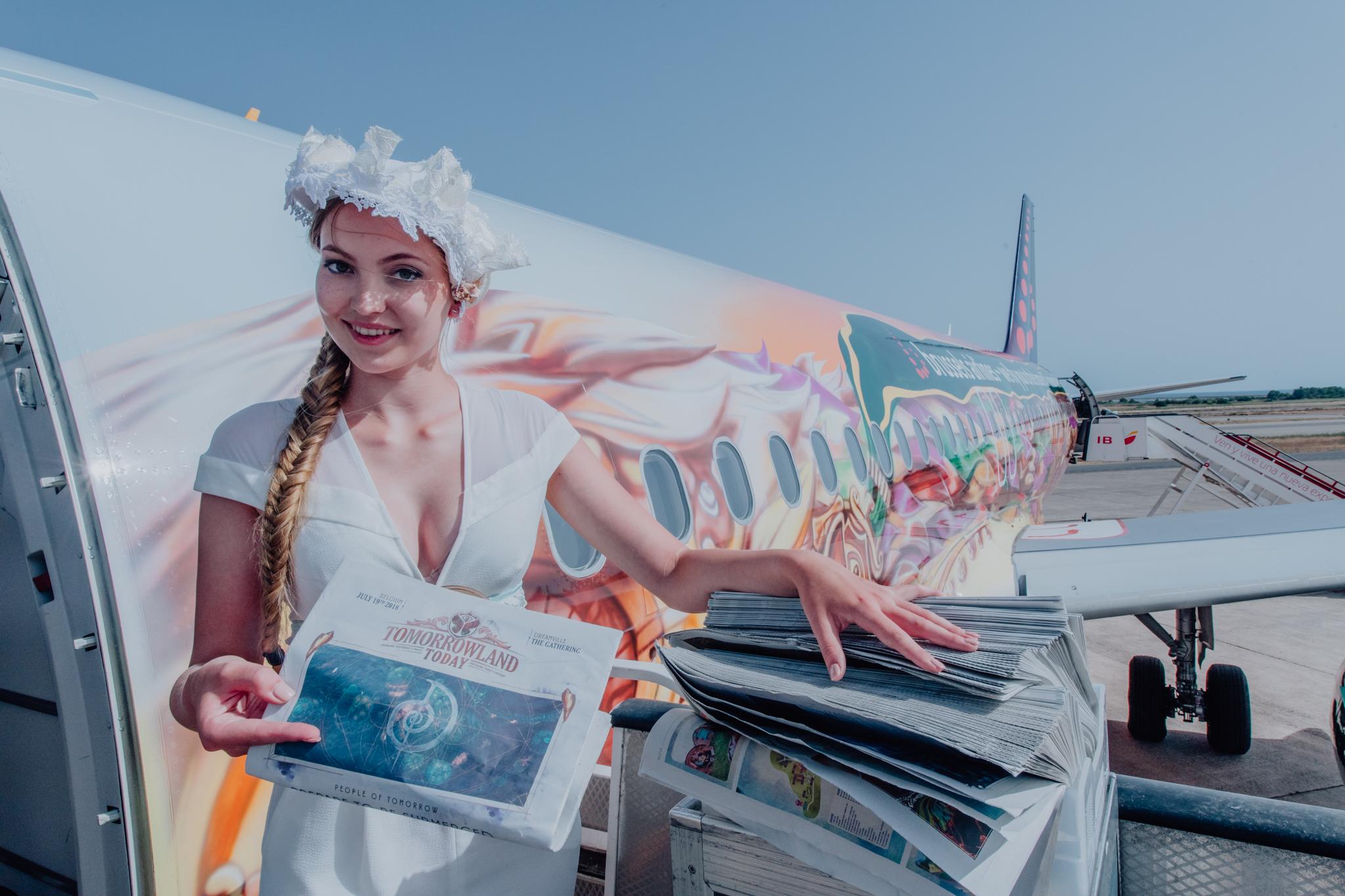 Denne weekend begynder den to uger lange Tomorrowland-festival i Belgien. Brussels Airlines har en særmalet Airbus A320 med navnet Amare som hyldest til kæmpefestivalen. Foto: Brussels Airlines.