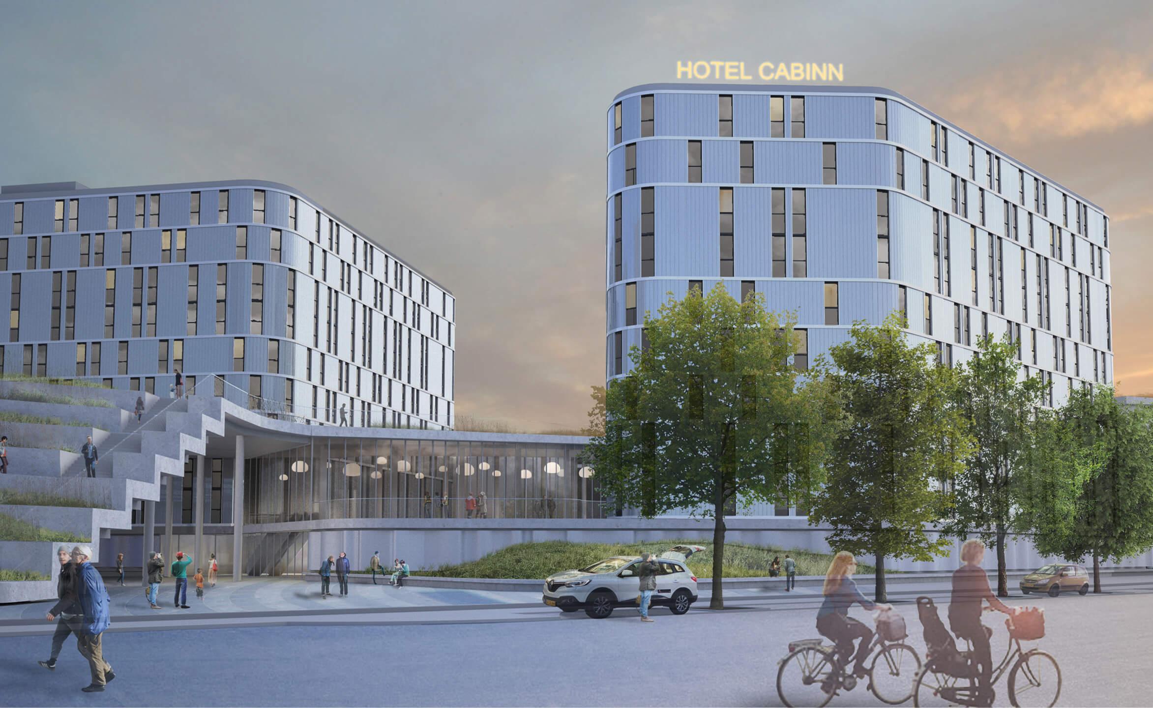 CabInn Copenhagen, der med alle værelser i brug bliver Danmarks største hotel, ligger i et grønt område tæt på blandt andet Københavns Havn. Illustration fra CabInn.