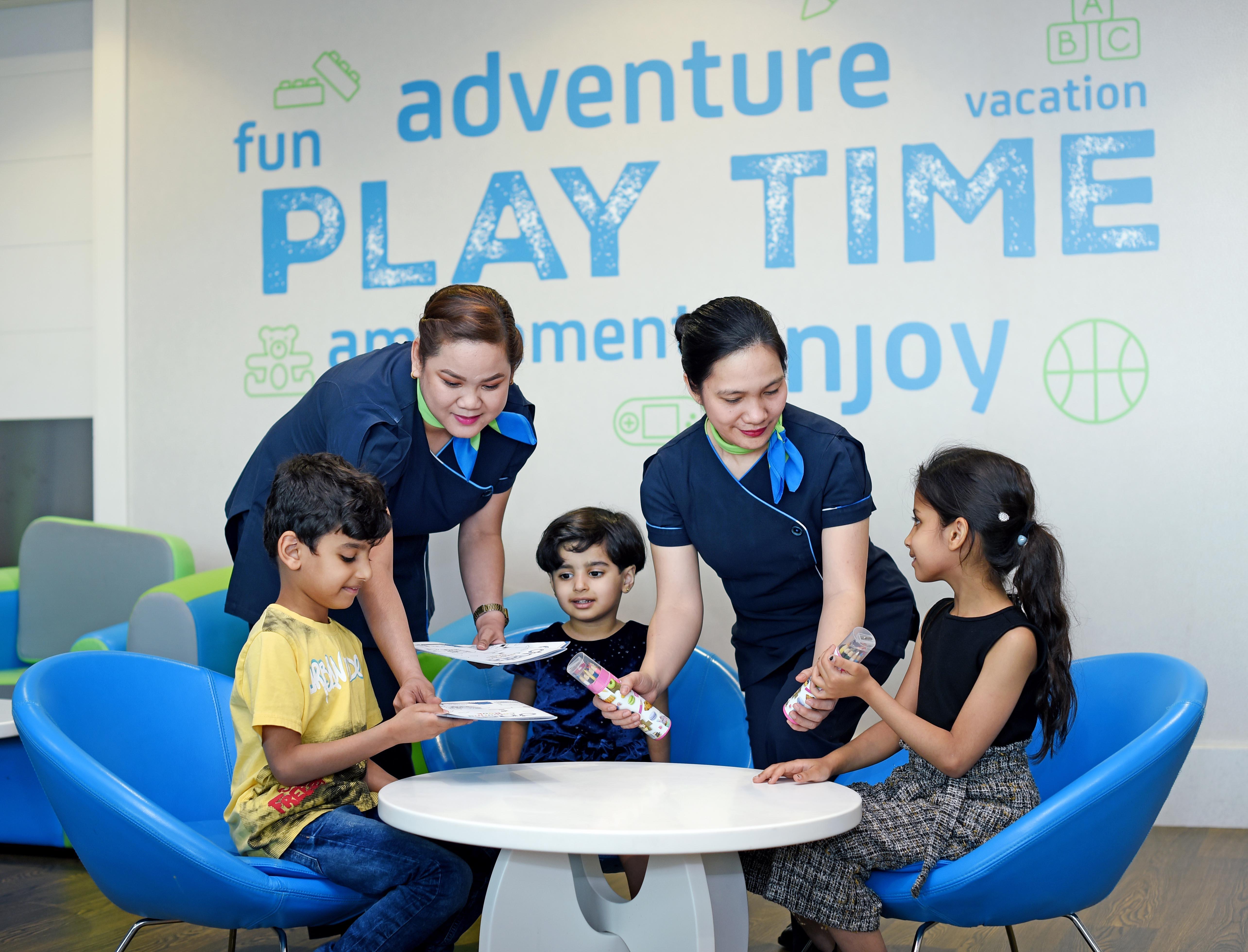Lufthavnen i Dubai har åbnet en særlig lounge – kun for børn der rejser alene, de såkaldte UM'ere (Unaccompanied Minor). Pressefoto.