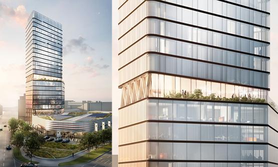 Det kommende Radisson-hotel i Stuttgart er designet af Studio F. A. Porsche. Porsche Deutschland har ligeledes skabt tårnet, hvor hotellet placeres. Illustration via Radisson Hotel Group.