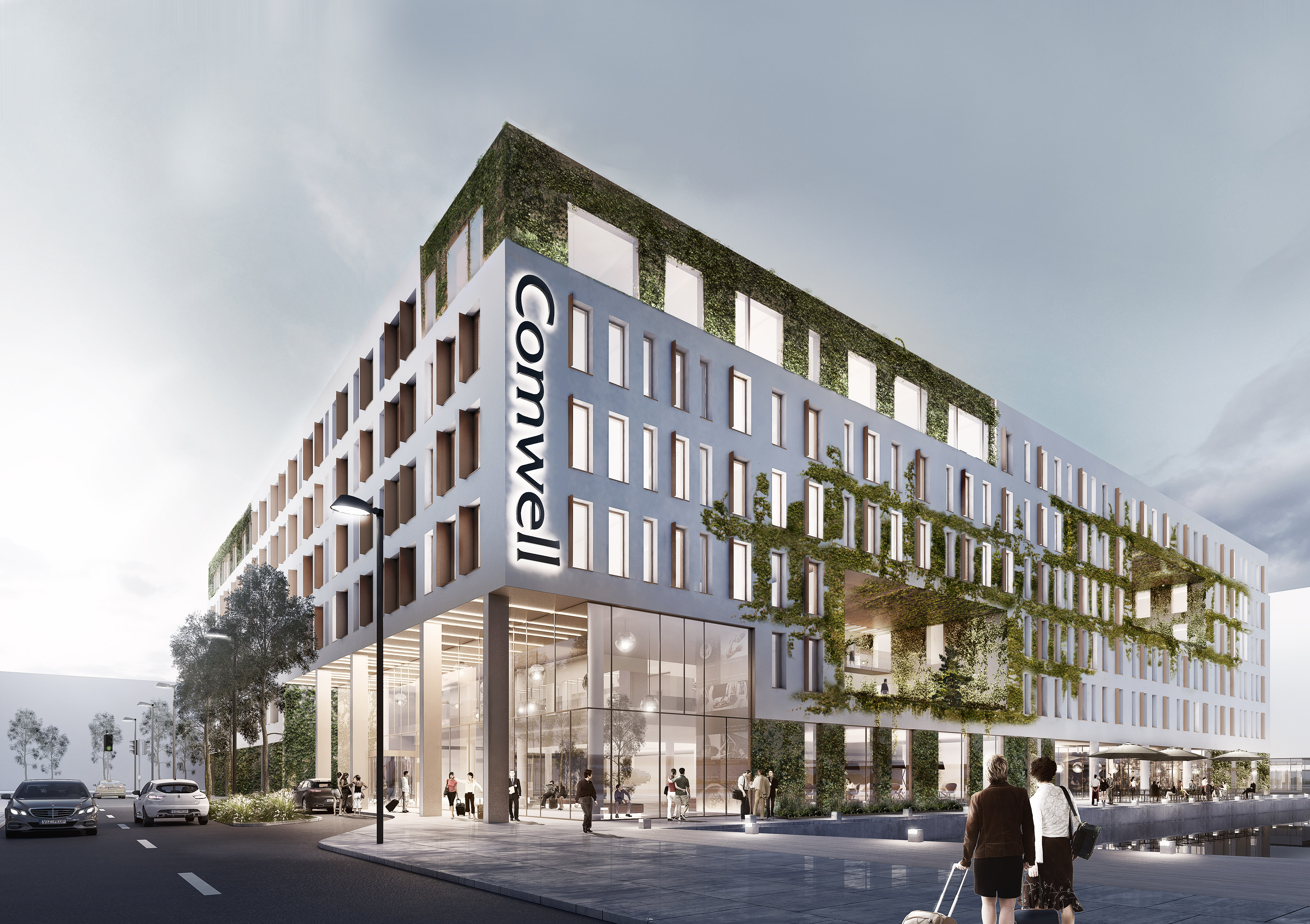 Comwell er på vej med 40 procent flere hotelværelser i Danmark. Kædens største hotel, Comwell Portside, der her er illustreret, åbner i januar 2021 med 484; Comwell Aarhus får indenfor et par år yderligere 198, mens Comwell i Kolding vokser med 120 værelser. Illustration via Comwell fra Arkitema Architects.
