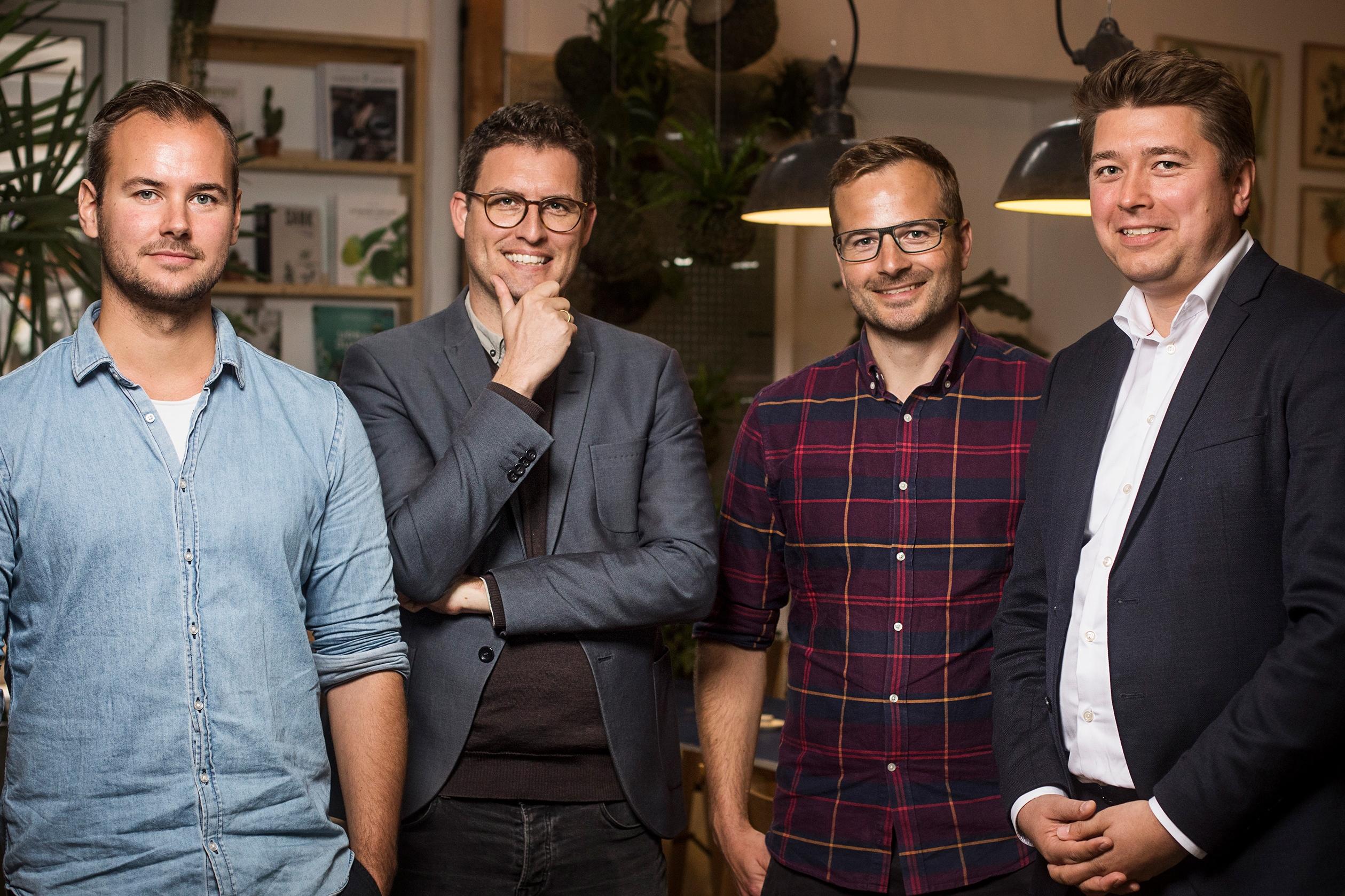 Grundlæggerne af danske Gaest.com, der i januar blev købt af Airbnb.com, er fra venstre Chris Sørensen, Christian Schwarz Lausten, Jonas Grau og Anders Boelskifte Mogensen. Foto: Gaest.com