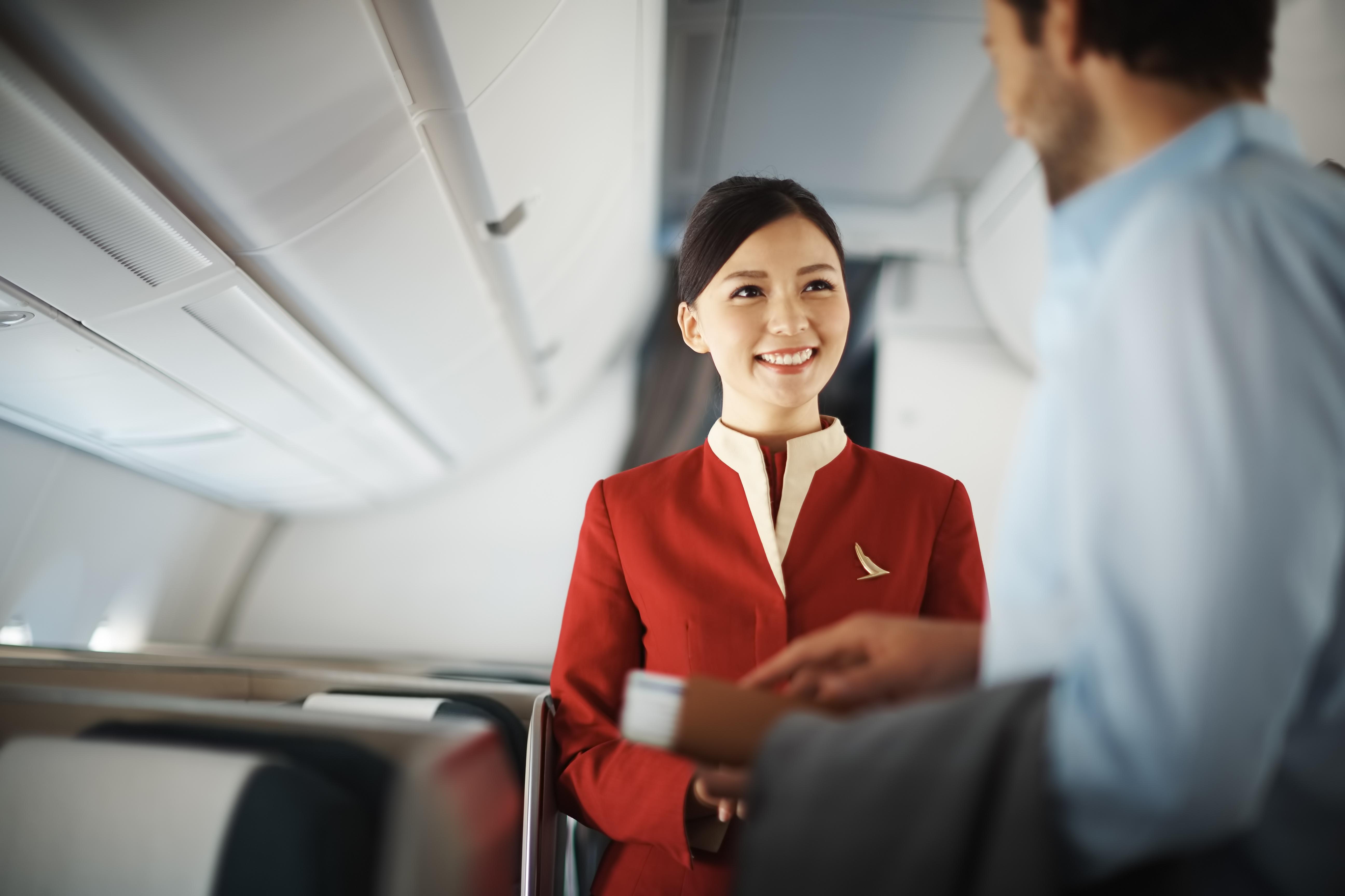 Med overvågningskameraer på flyene indsamler Cathay Pacific optagelser af, hvad passagererne foretager sig. Flyselskabet garanterer, at det passer godt på optagelserne. Pressearkivfoto fra Cathay Pacific.