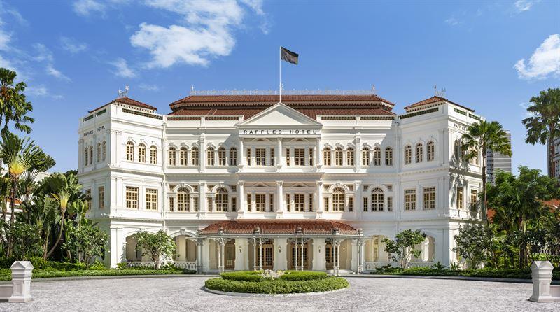 Hotellet Raffles Singapore åbnede i 1887 og blev et århundrede senere anerkendt af Singapores regering som et nationalt monument. Den seneste restaurering blev gennemført i årene 1989-1991. Pressefoto: Raffles Hotels & Resorts.