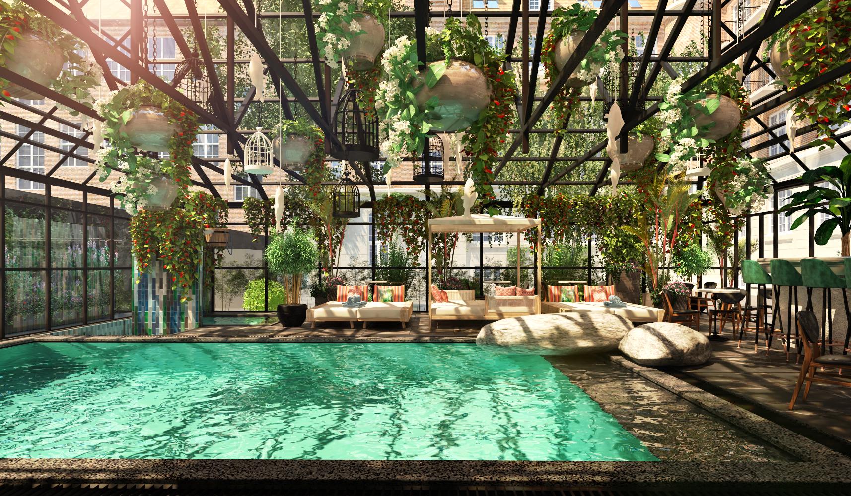 Bryggen Guldsmeden Hotel på Islands Brygge i København får udover 214 værelser blandt andet også spa, sauna, indendørspool, mødefaciliteter og restaurant. Illustration via Guldsmeden Hotels.