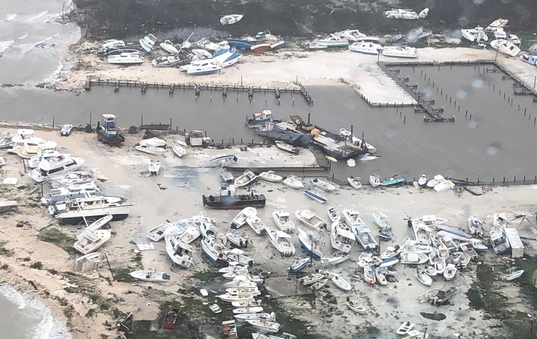 Ødelæggelser på dele af øgruppen Bahamas som følge af orkanen Dorian. Foto: U.S. Coast Guard, Coast Guard Air Station Clearwater.