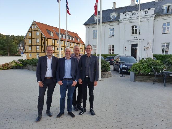 Den nye investorejerkreds af Bandholm Hotel på Lolland er fra venstre Peter Bøgil, Peter Hauge Jensen, Rolf Adamson og Nicolai Kærgaard. PR-foto.