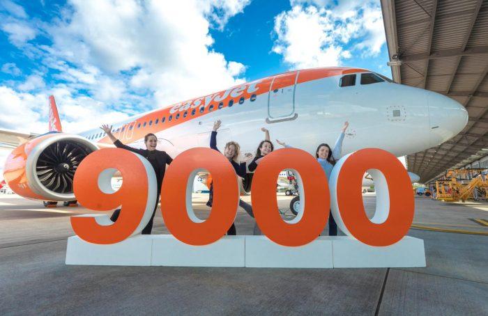 Airbus har netop leveret fly nummer 9.000 fra A320-familien – modtageren var Easyjet, det selskab i verden med flest fly fra A320-familien. Foto: Airbus.