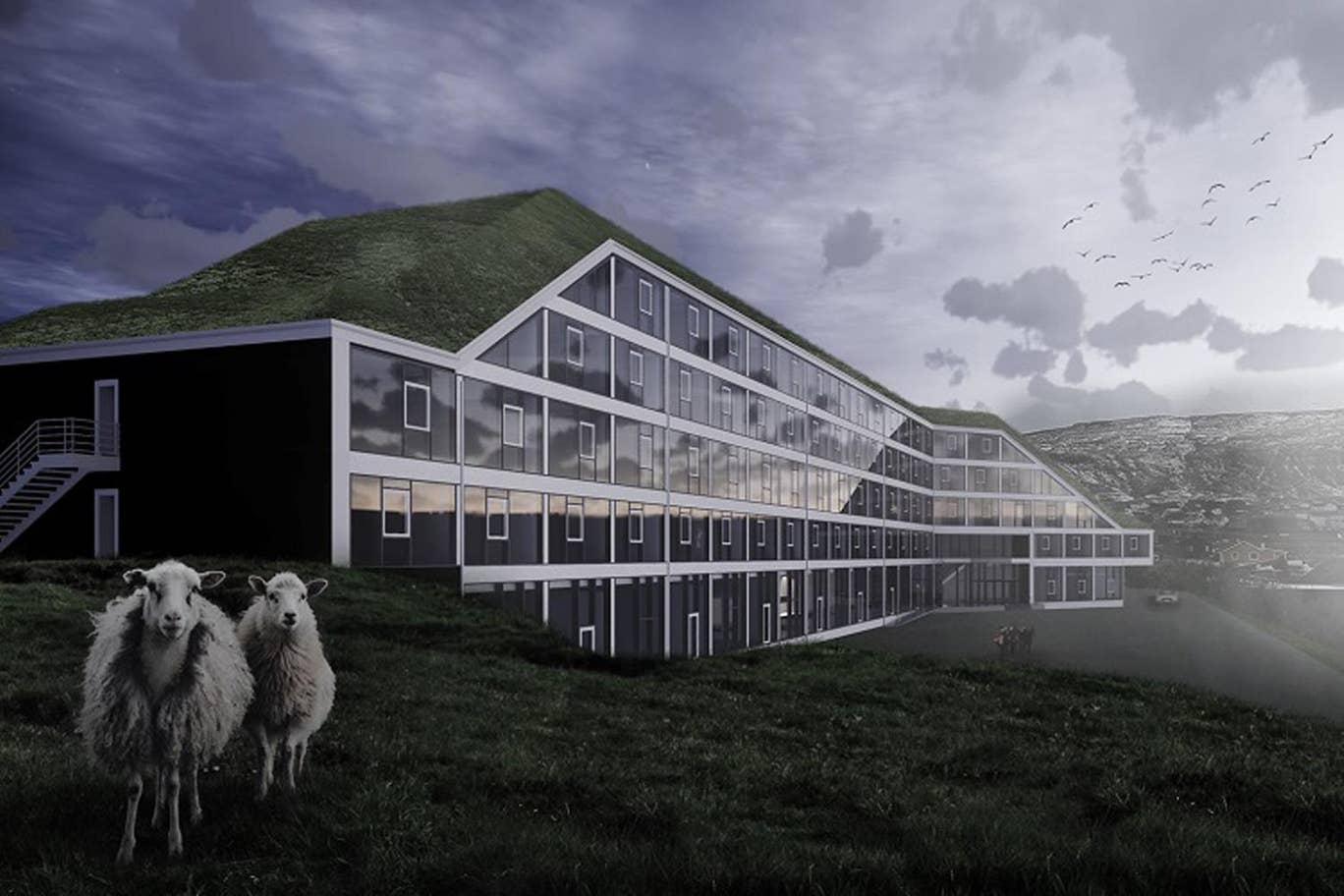 Færøerne får næste år sit første international kædehotel når Hilton Garden Inn åbner tæt på Torshavn med 131 værelser. Illustration: Hilton.