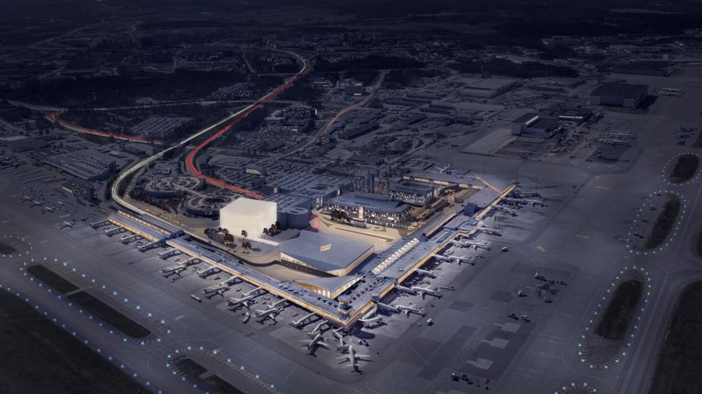 Visualisering af det kommende hotelkompleks i Helsinki Lufthavn. (LAK Real Estate Oy)