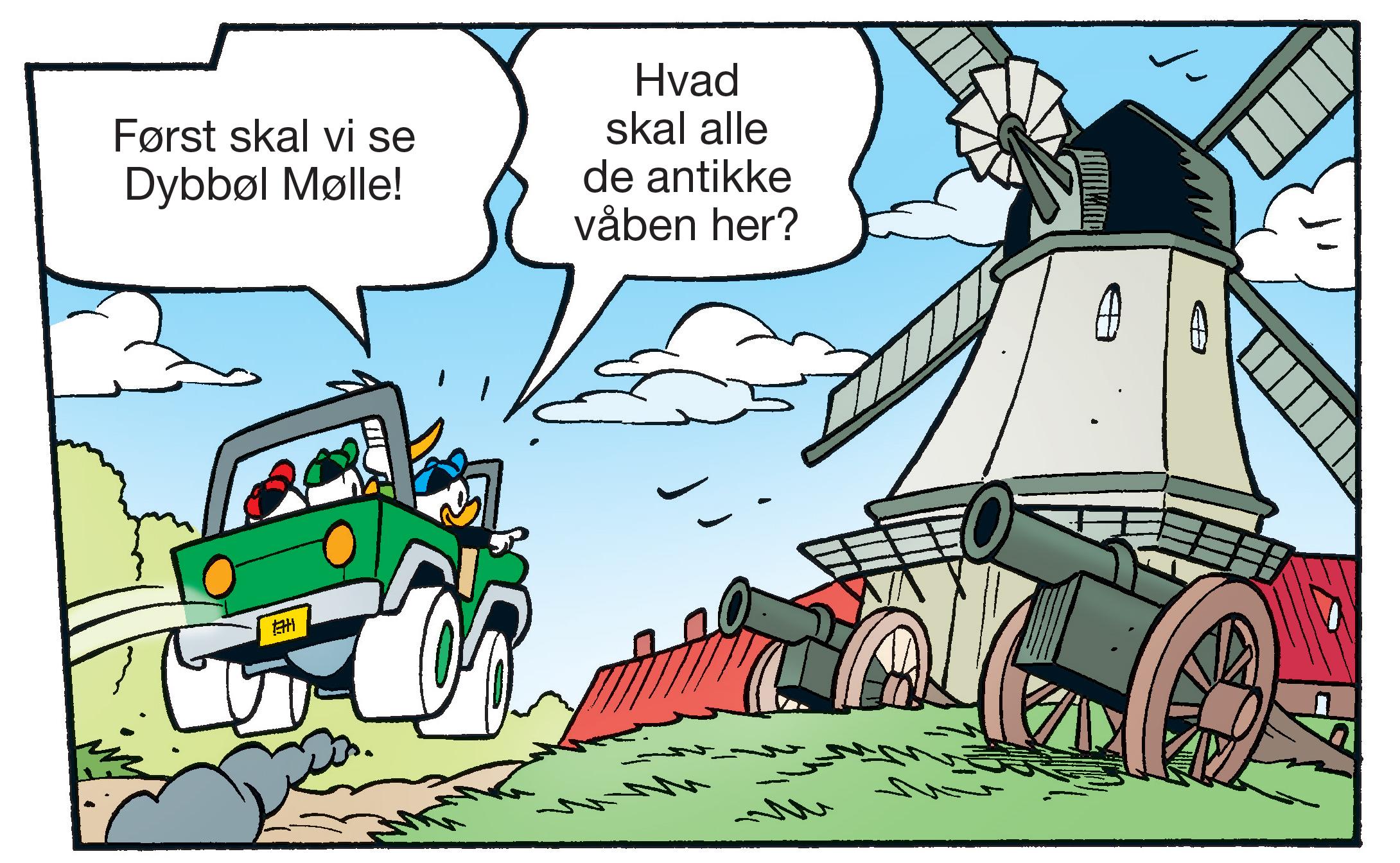 I morgen, torsdag, udkommer det ugentlige danske Anders And-blad, hvor den dunede familie for første gang er i Sønderjylland og blandt andet besøger Dybbøl Mølle. (Presseillustration: Egmont Publishing © (C) Disney)
