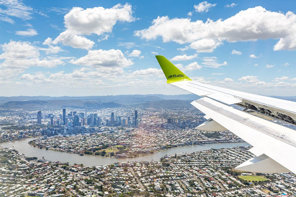 Airbus A220-flyet fra airBaltic ved landingen i Brisbane (Foto: Airbus | Twitter)