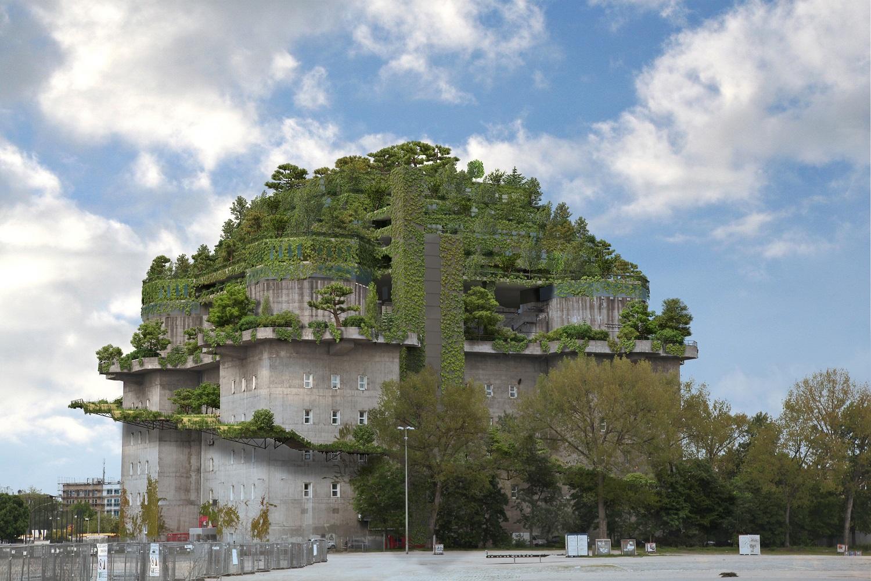 """Tyske NH Hotel Group vil omdanne denne kæmpe bunker ved Hamborg til hotel. Den såkaldte """"Hochbunker"""" er en betonkonstruktion med et grundplan på 75 gange 75 meter og en højde på 35 meter. Illustration: NH Hotel Group."""
